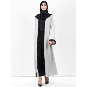 Abaya-Moderne-Grise-Dentelle-noire-face