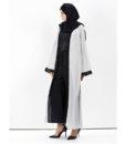 Abaya-Moderne-Grise-Dentelle-noire-profilgauche