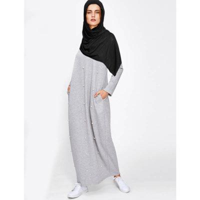 Vetement Femme Voilée Robe Perlée grise