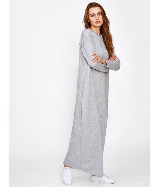 Vetement Islamique Femme Robe Perlee Grise