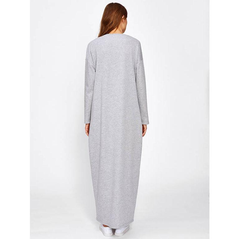 Vetement Islamique Femme Robe Grise dos