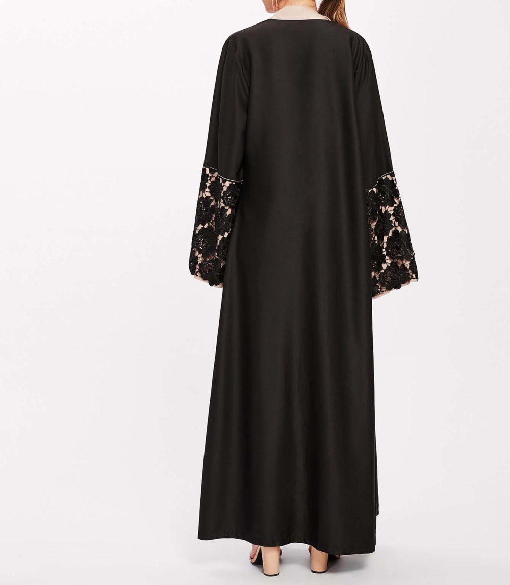 Abaya Moderne Brodée noir Profil Dos
