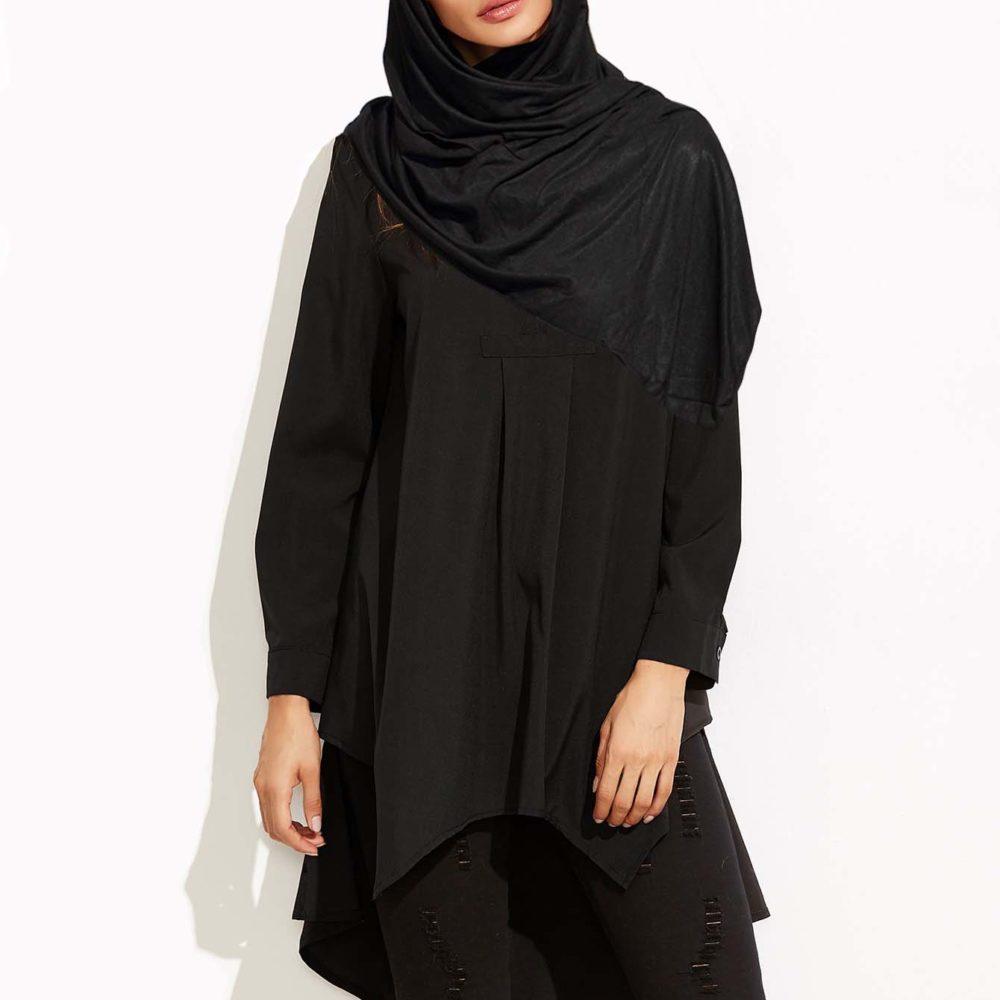 Long Ynes Musulmane Femme Pour Boutique Idéal Noir Maxi Chemisier ESnqgq0