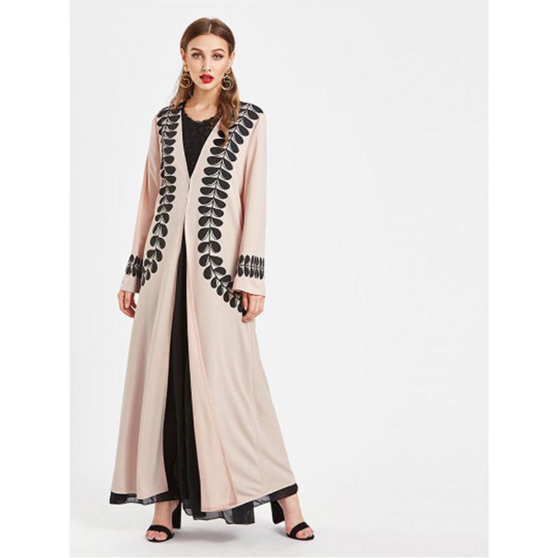 Abaya Moderne Rose et Noir, Vetement Femme Musulmane