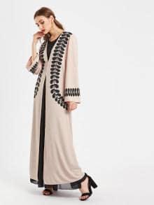 Abaya Moderne Rose et Noir Vetement Femme Musulmane