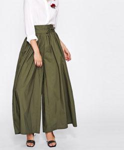 Vêtement islamique femme pantalon large vert face