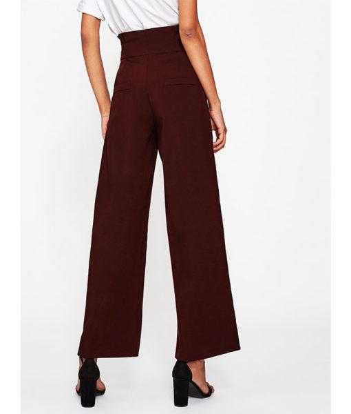 Pantalon femme bordeaux dos