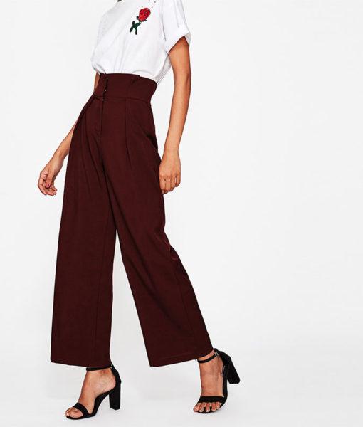 Pantalon femme bordeaux dos profil