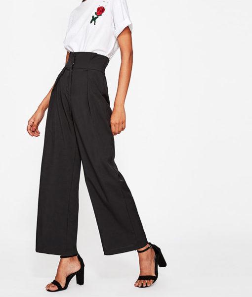 Pantalon femme voilée classique noir profil
