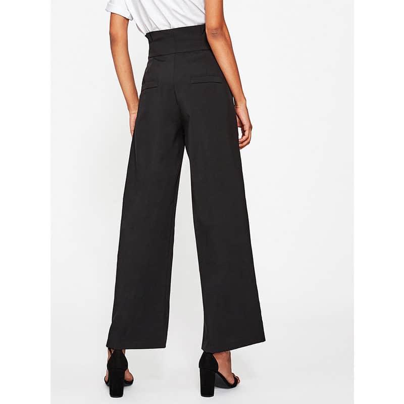 Pantalon femme voilée classique noir dos