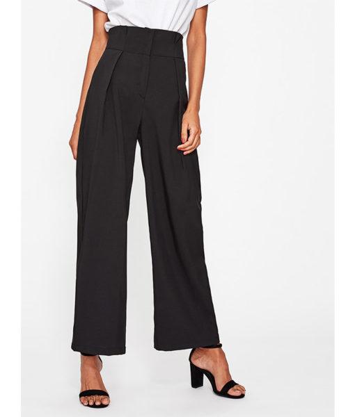 Pantalon femme voilée classique noir face