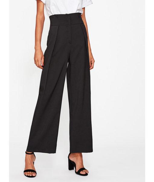 Pantalon femme voilée classique noir
