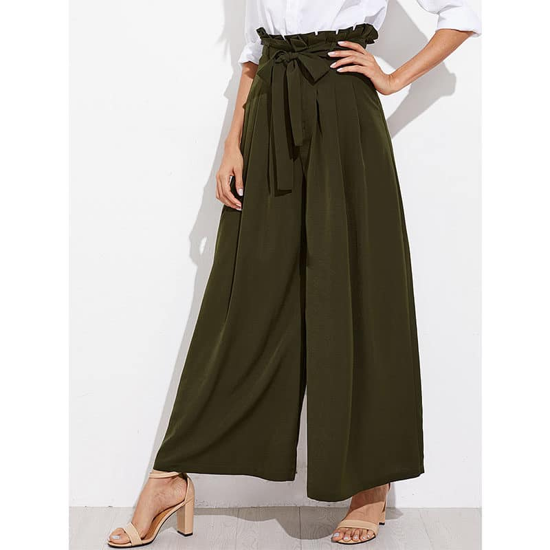 Pantalon femme musulmane extra large vert profil