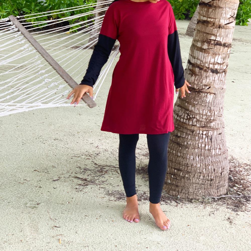 Tunique bicolore rouge noir