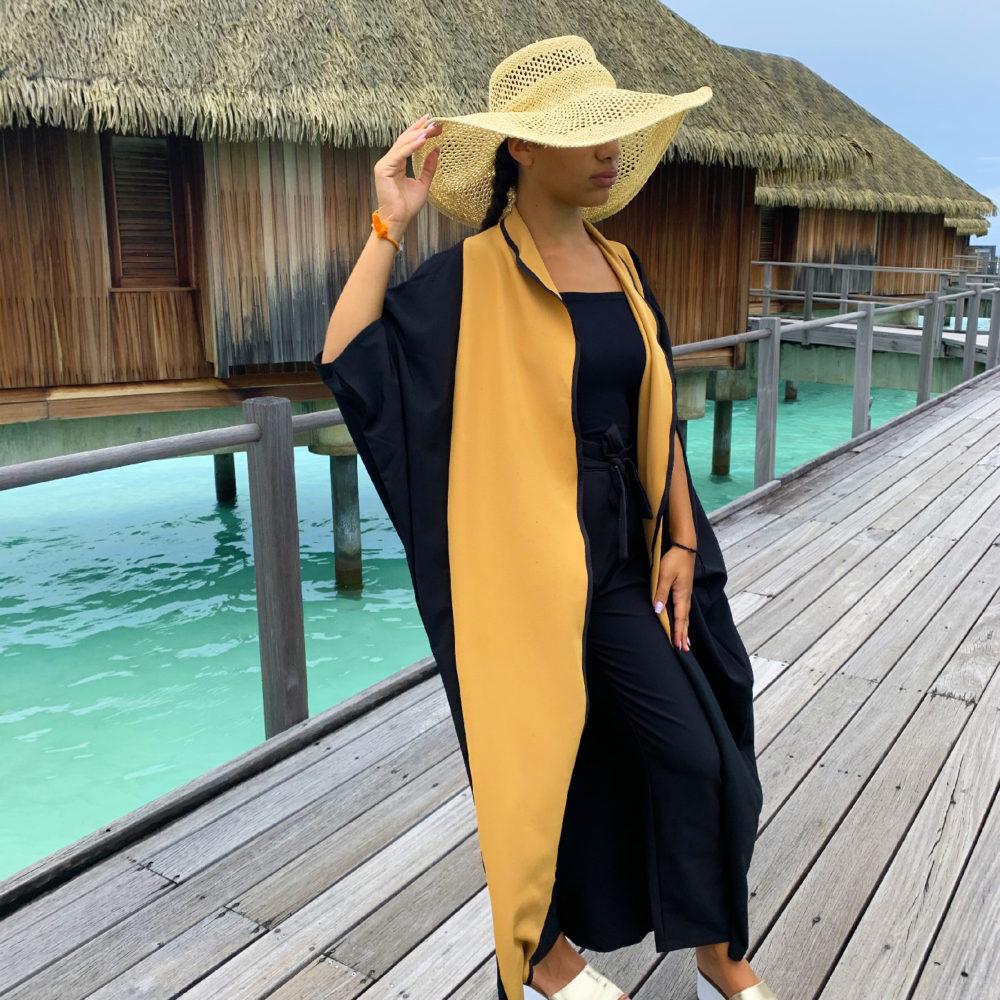 Abaya bicolore ethnique