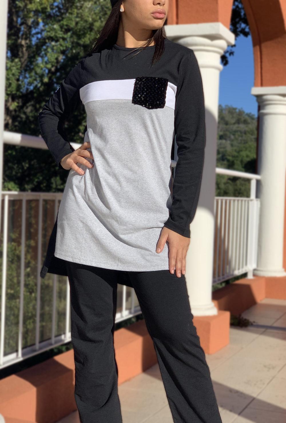 Ensemble tricolore blanc noir gris