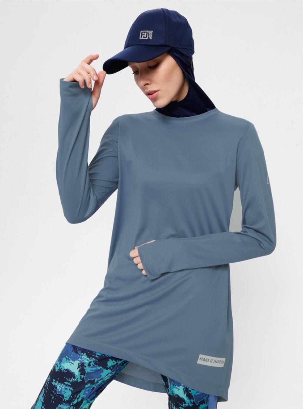Sweat sport bleu indigo pour femme voilée